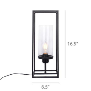 "Roman - 16.5"" Black Iron Table Lamp with Glass Shade"