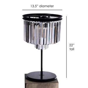 Giselle Glam Crystal Table Lamp in Black, 22 inches