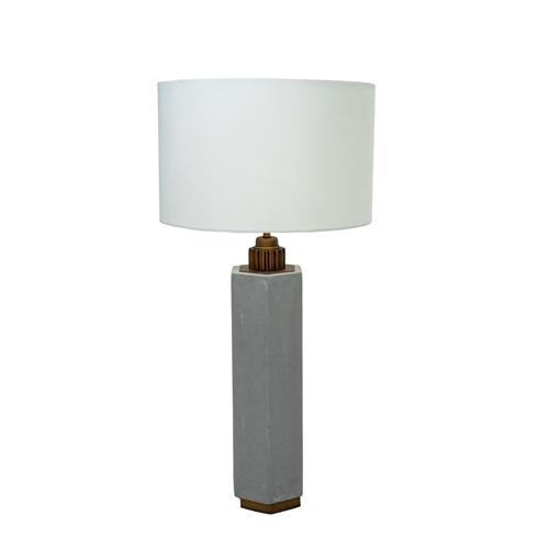 "Avalon - 30"" Cement Table Lamp with White Fabric Shade"