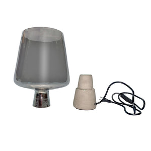 "Dani - 15"" Cement Table Lamp, Concrete Base with Smoked Glass Shade"