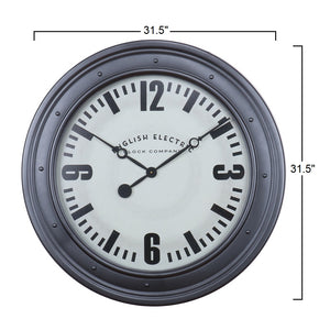 "Bond - 31.5"" Large English Electric Wall Clock with Silver Frame"