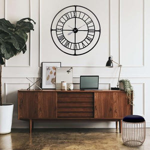 "Holden - 36"" Large Modern Industrial Wall Clock with Roman Numerals"