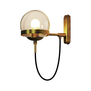 Colby Glass Globe Wall Sconce in Brass with Cognac Glass