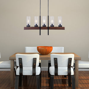 Large 5-Light Black Metal and Wood Chandelier Pendant Light