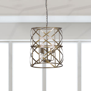 Large 5-Light Modern Industrial Wrought Iron Hanging Chandelier