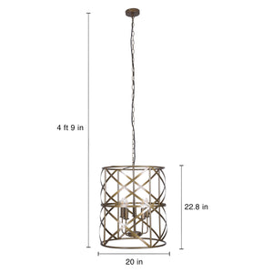Addie - Large 5-Light Modern Industrial Wrought Iron Hanging Chandelier