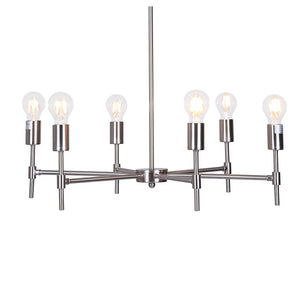 Large Chrome 6-Light Silver Hanging Chandelier