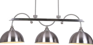 Industrial 3-Light Silver Hanging Pendant Light Fixture with Brushed Nickel Featuring Iron Dome Shades