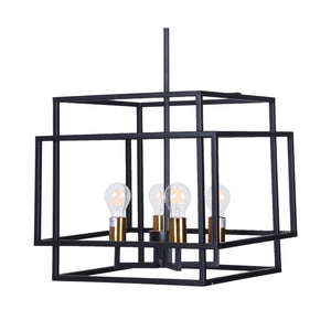 Large 4-Light Black Metal Chandelier, Vintage Industrial Design with Black and Gold