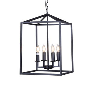 Large 4-Light Industrial Black Metal Chandelier with Vintage Wrought Iron