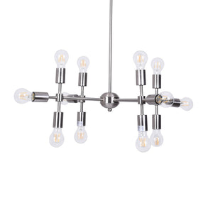 Globe Clear Glass 12-Light Chandelier in a Silver Sputnik Style