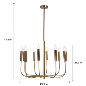 Large 9-Light Gold Candelabra Style Chandelier