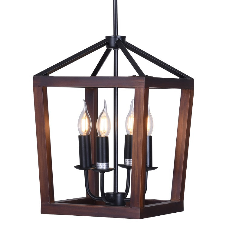 Wellington - 4-Light Natural Wood and Black Metal Hanging Pendant Chandelier