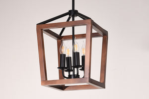 4-Light Natural Wood and Black Metal Hanging Pendant Chandelier