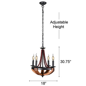 Arden Beaded 4-Light Wood and Metal Chandelier
