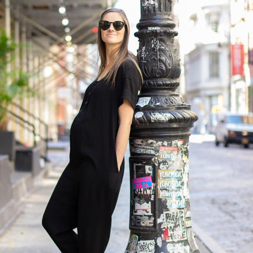 Black Maternity Jumpsuit. Nursing Friendly. Postpartum clothing.