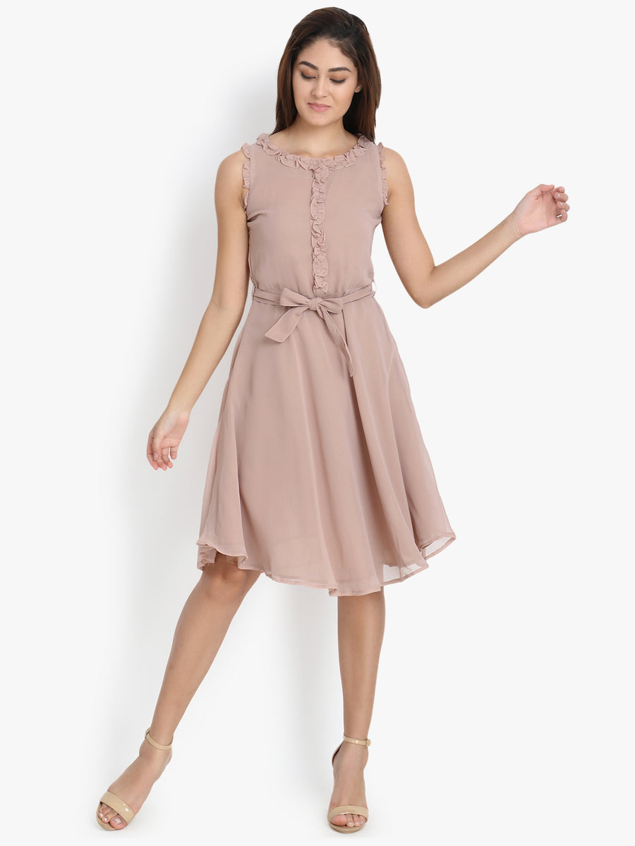 Yelloe Peach Frill Dress