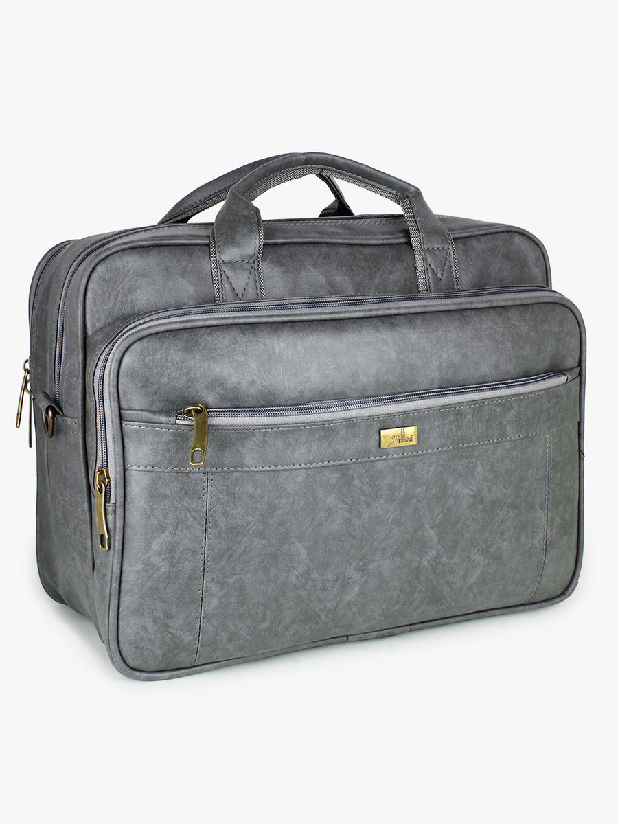 Yelloe Grey Textured Laptop Bag