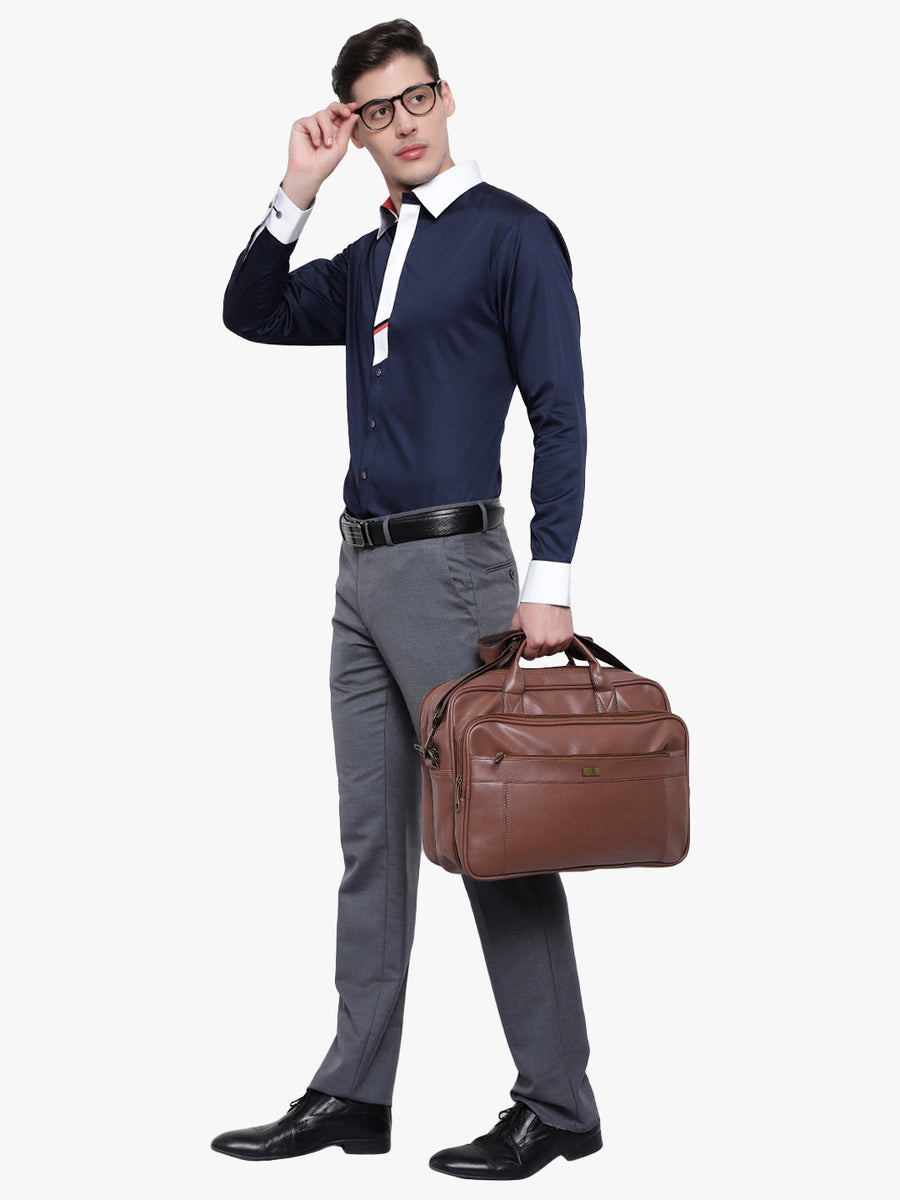 Yelloe Tan Solid Laptop Bag