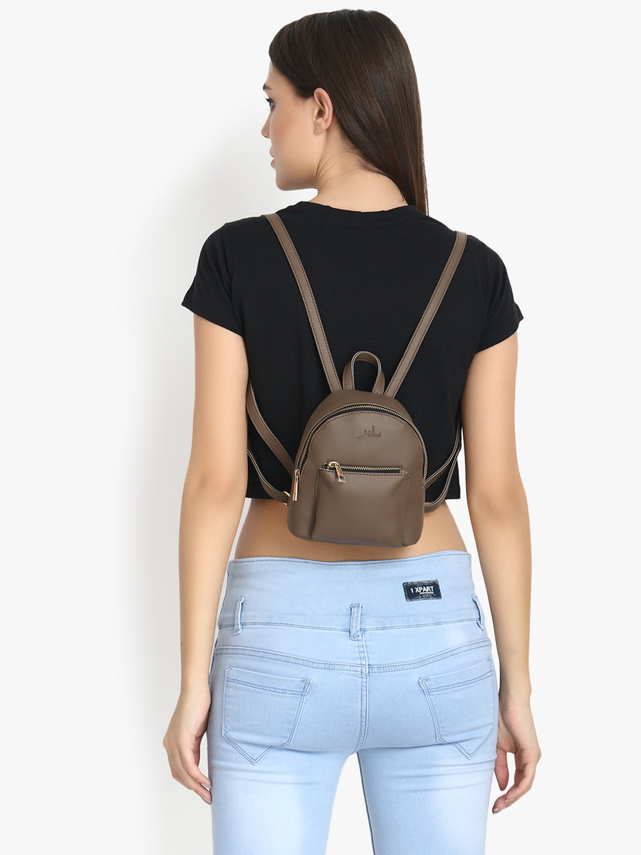 Small & Stylish Brown Backpack