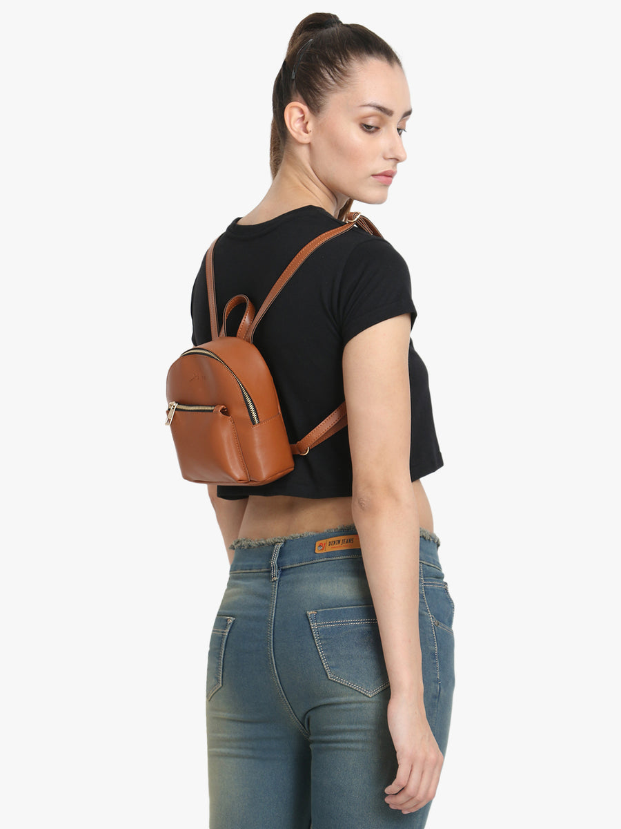 Small & Stylish Tan Backpack