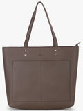 Double Front Pocket Tote Bag in Taupe
