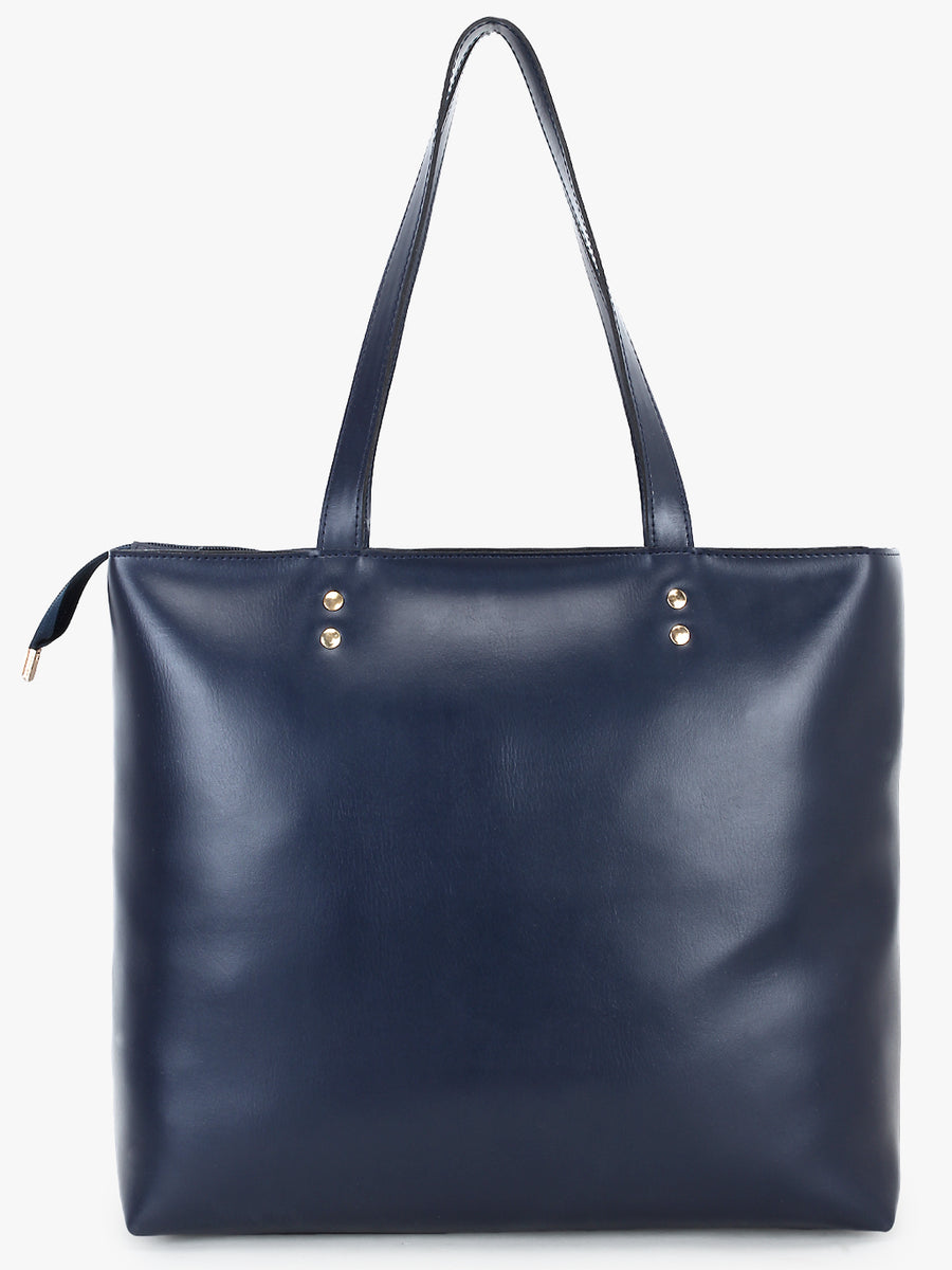 Double Front Pocket Tote Bag in Blue