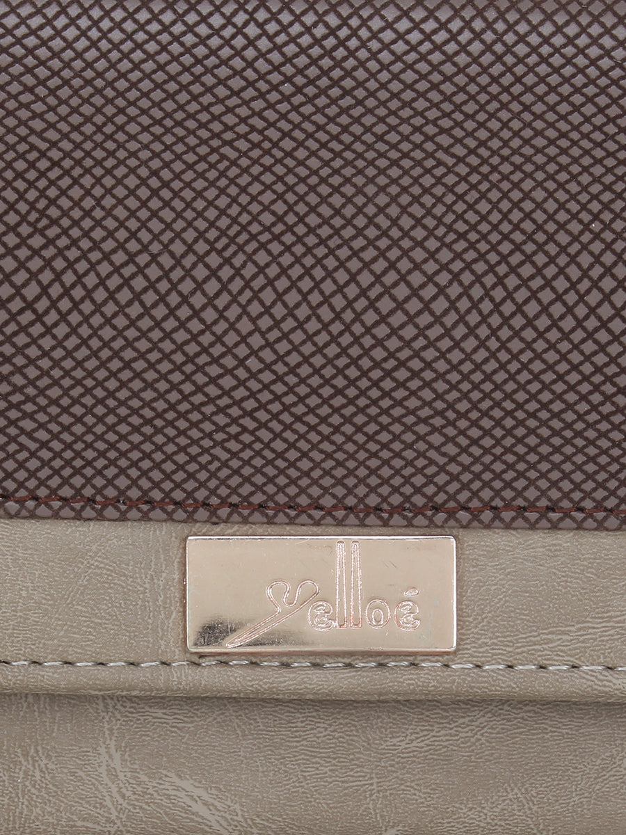 Women Solid Three Compartment Wallet in Beige