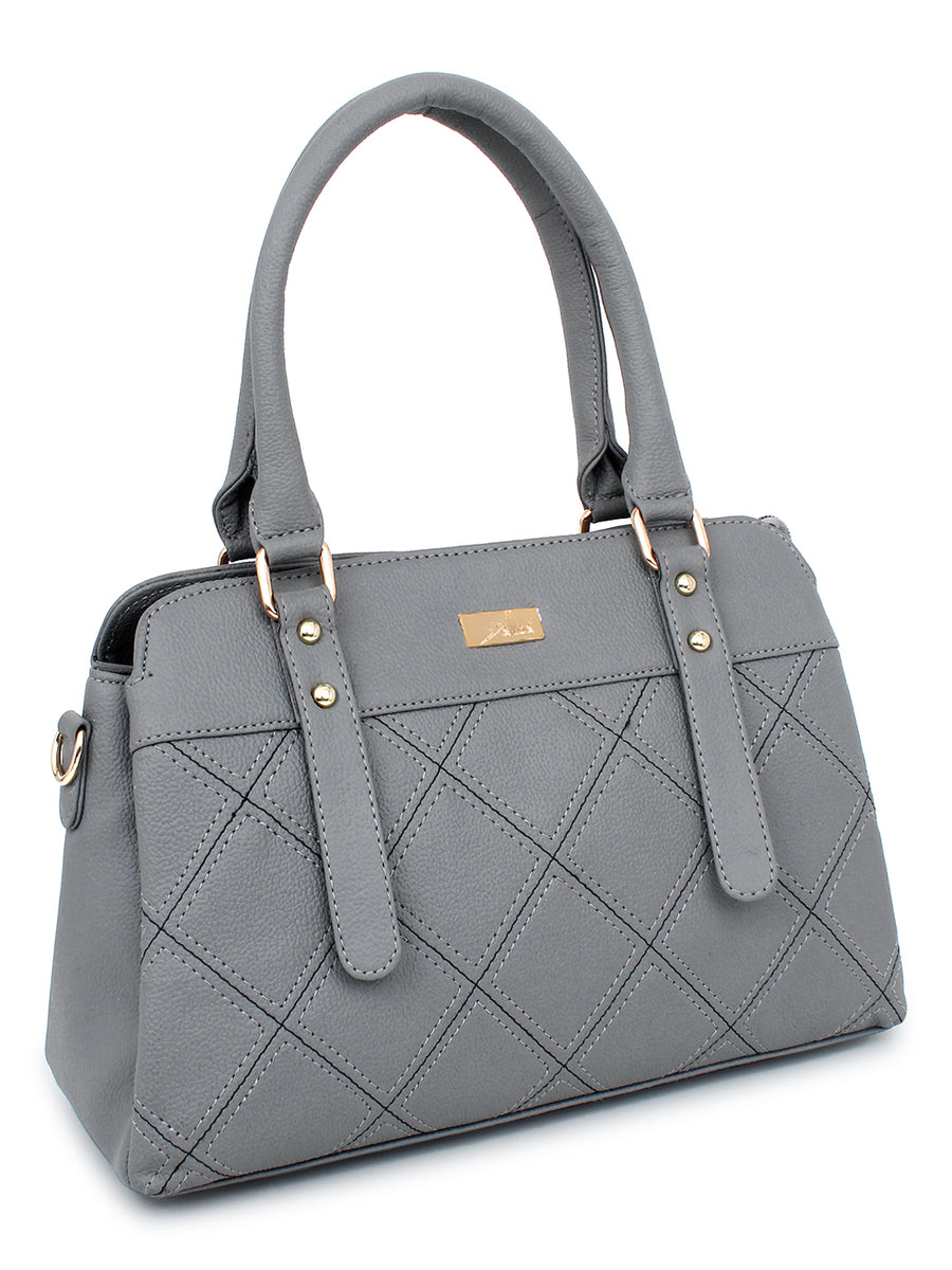 Embriodered Multi compartment Handbag with Long Sling in Grey