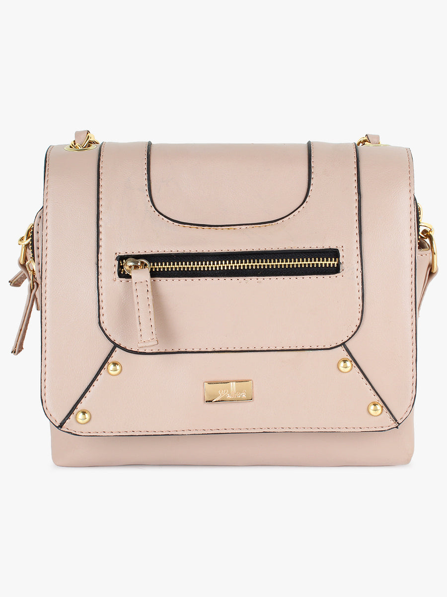Yelloe Stylish Pink Synthetic Leather multi compartment sling bag