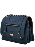 Yelloe Stylish blue Synthetic Leather multi compartment sling bag