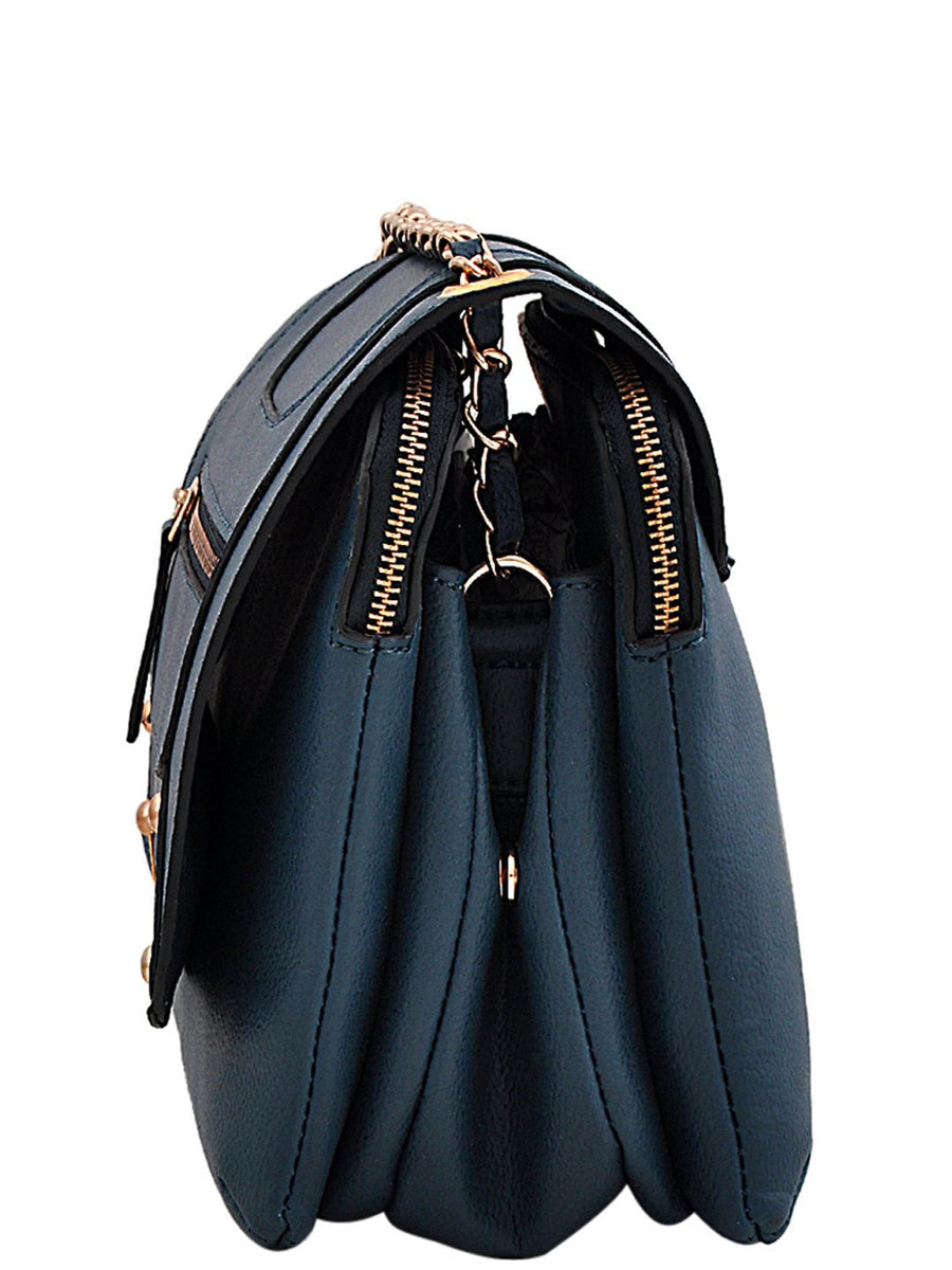Yelloe Stylish blue Synthetic Leather multi compartment sling bag With Front Flap