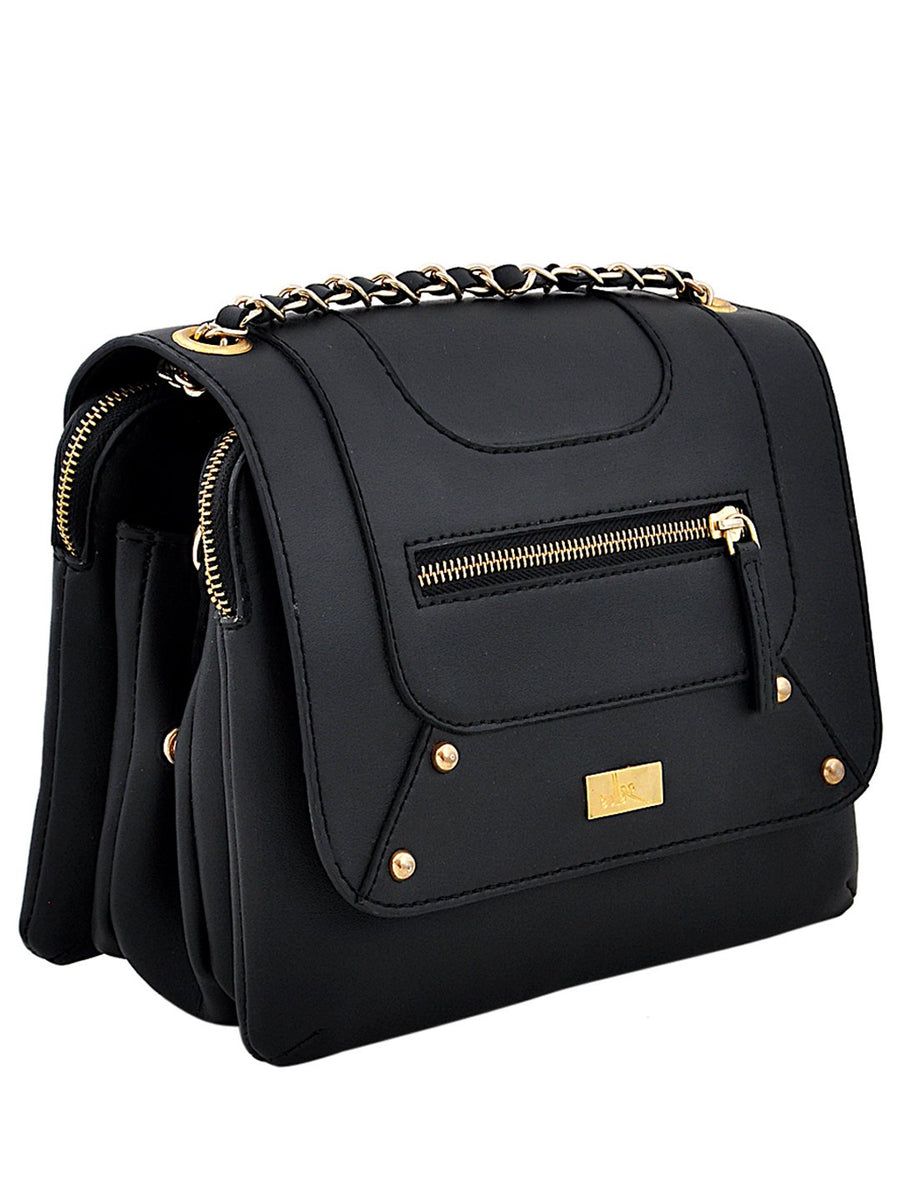 Yelloe Stylish Black Synthetic Leather multi compartment sling bag With Front Flap