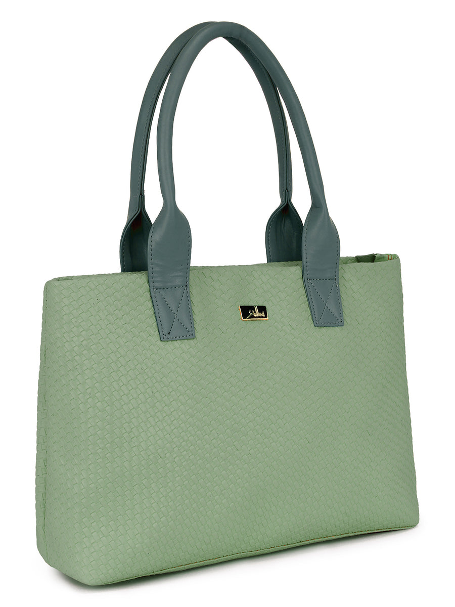 Green Tote with weaved Mat pattern