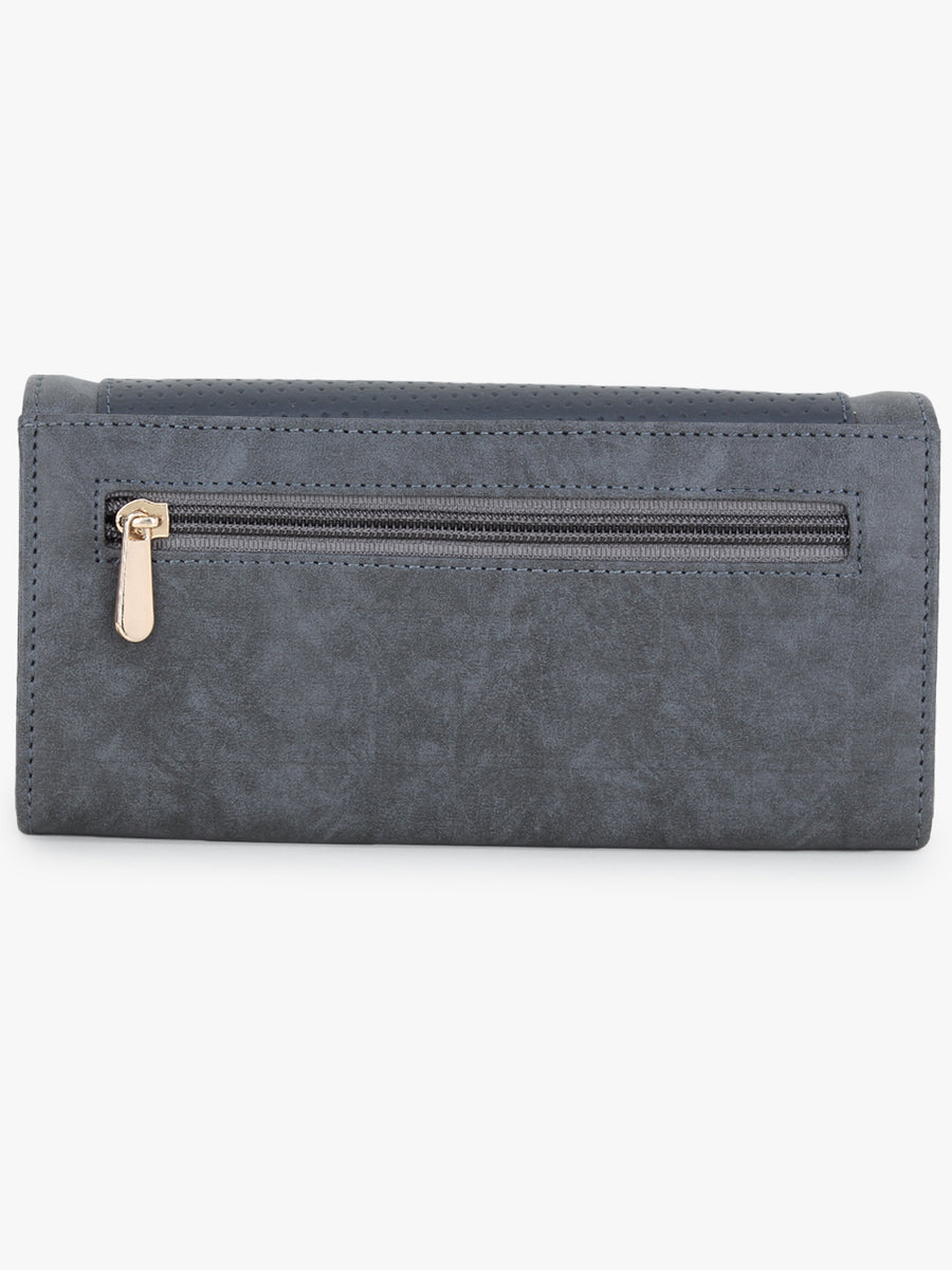Women Solid Three Compartment Wallet in Blue