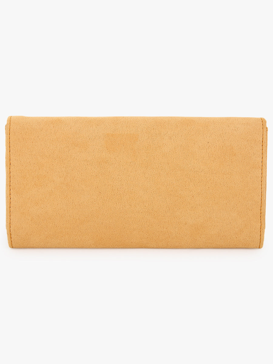 Women Solid Two Fold Wallet in Yellow