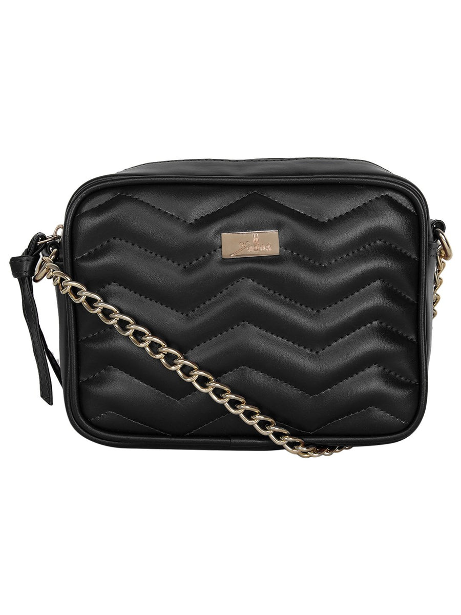Yelloe Black smart zigzag pattern quilted sling bag