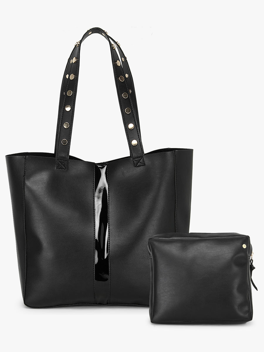 Black Tote Bag with Embellished Handle