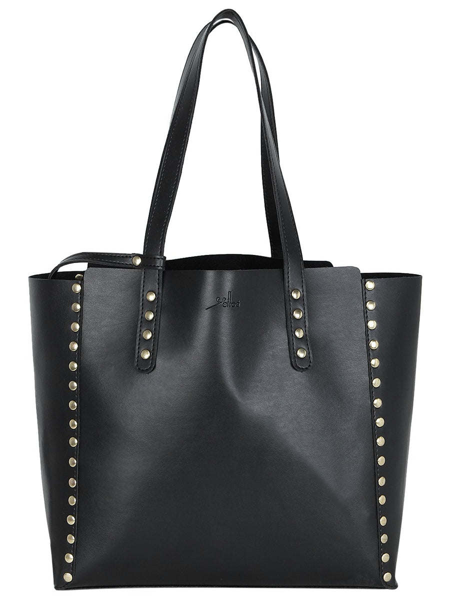 Yelloe Embellished Tote Bag in Black
