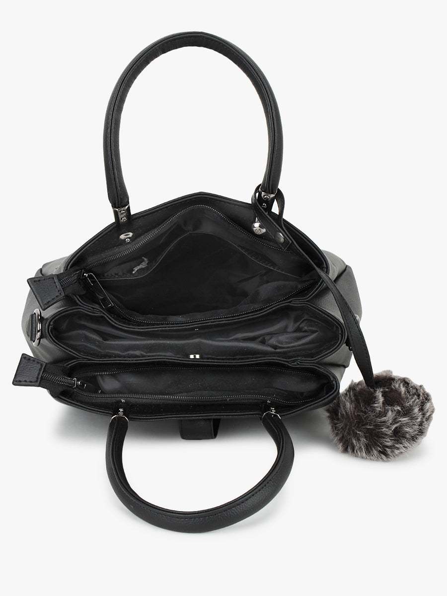 Yelloe Black embroidered Handbags with Hanging Pom Pom