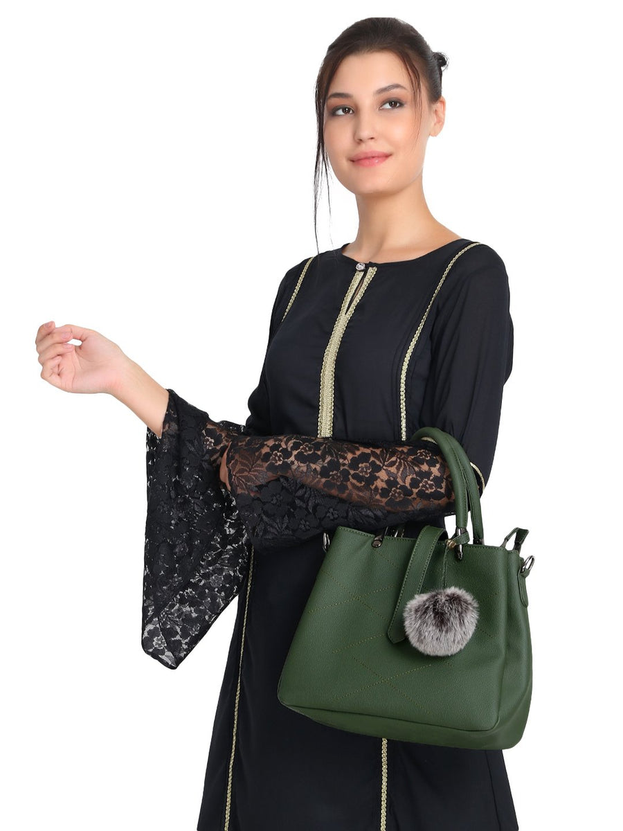 Green embroidered Handbag with Hanging Pom Pom