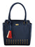 Yelloe Blue Synthetic Leather Handbag with Multicolored Tassel