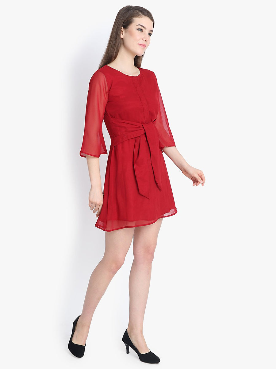 Tie front box pleat neck red dress