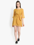 Tie front box pleat neck yellow dress