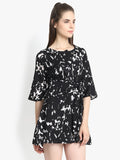 Tie front box pleat neck black print dress