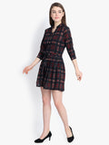 button front check print shirt collar skater dress