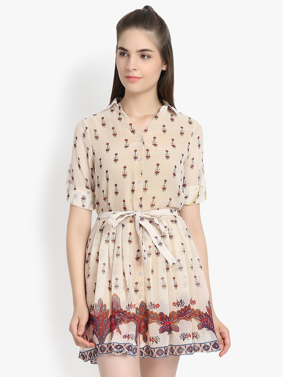Button front printed border self tie skater dress