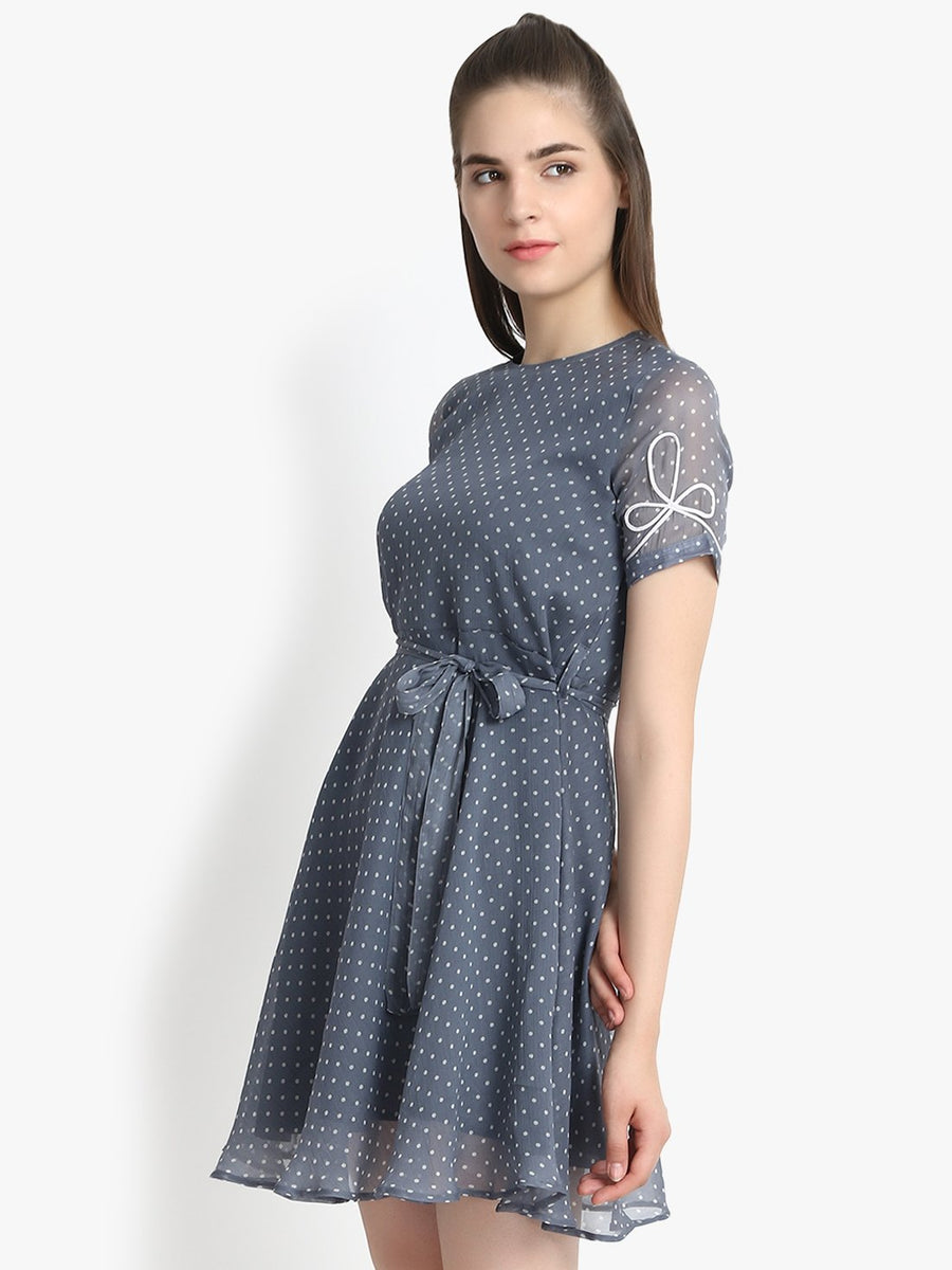 Polka dot puff sleeve skater dress