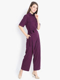 Flap pocket waist belt shirt style jumpsuit