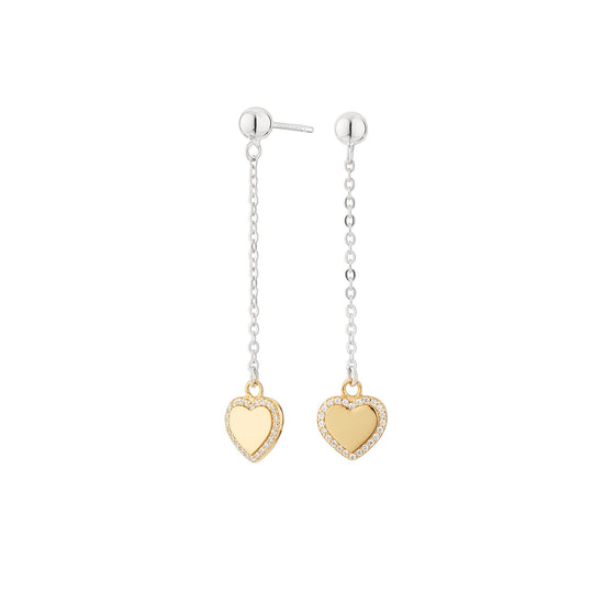 Two-tone Heart Long Cube Earrings
